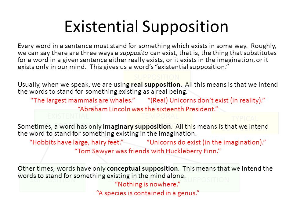 TEMPORAL SUPPOSITION REAL SUPPOSITION IMAGINARY SUPPOSITION CONCEPTUAL SUPPOSITION TYPICAL SUPPOSITION EXISTENTIAL SUPPOSITION Existential Supposition