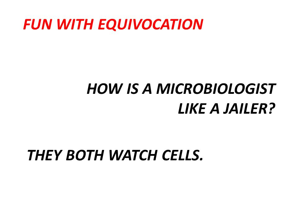 HOW IS A MICROBIOLOGIST LIKE A JAILER? THEY BOTH WATCH CELLS. FUN WITH EQUIVOCATION