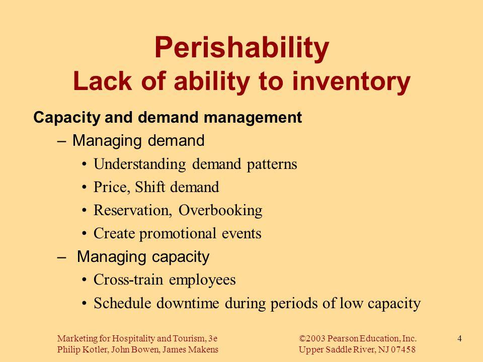 Marketing for Hospitality and Tourism, 3e©2003 Pearson Education, Inc. Philip Kotler, John Bowen, James MakensUpper Saddle River, NJ 07458 4 Perishabi
