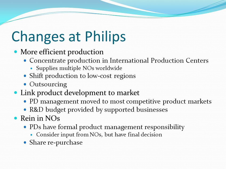 Changes at Philips More efficient production Concentrate production in International Production Centers Supplies multiple NOs worldwide Shift producti