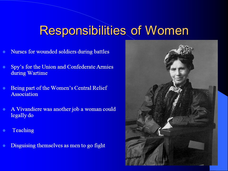 Responsibilities of Women Nurses for wounded soldiers during battles Spys for the Union and Confederate Armies during Wartime Being part of the Womens