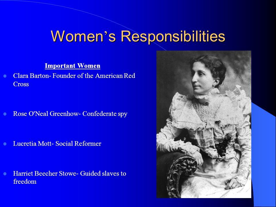 Women s Responsibilities Important Women Clara Barton- Founder of the American Red Cross Rose O'Neal Greenhow- Confederate spy Lucretia Mott- Social R