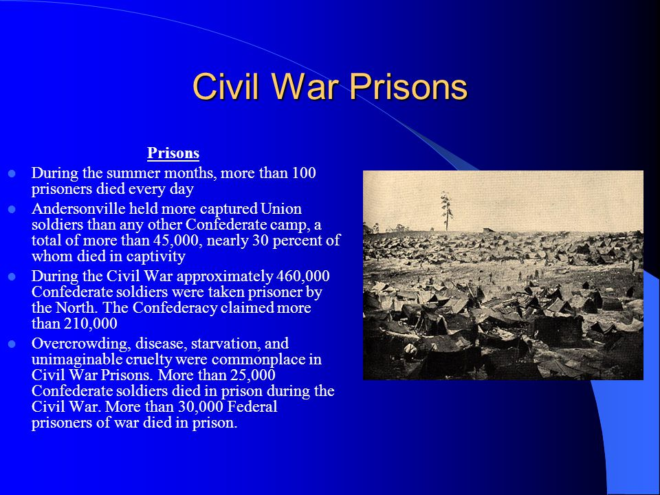 Civil War Prisons Prisons During the summer months, more than 100 prisoners died every day Andersonville held more captured Union soldiers than any ot