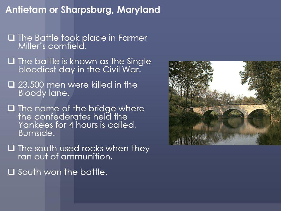 The Battle took place in Farmer Millers cornfield.
