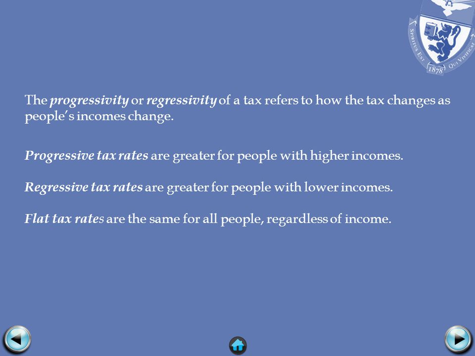 The progressivity or regressivity of a tax refers to how the tax changes as peoples incomes change.