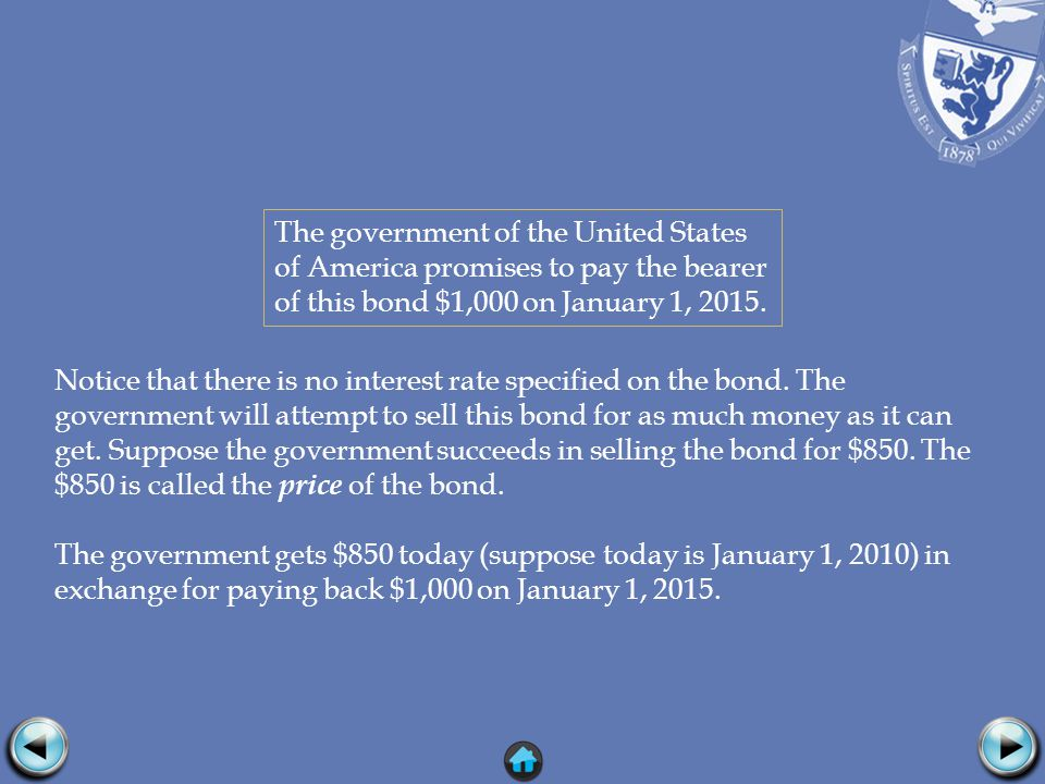 Notice that there is no interest rate specified on the bond.