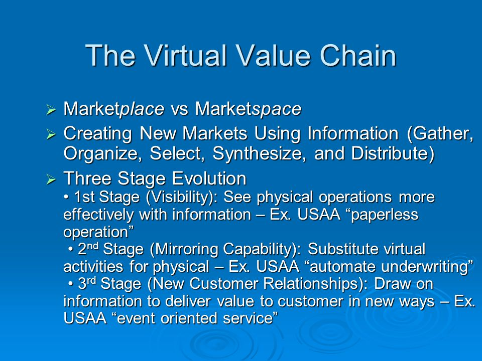 The Virtual Value Chain Marketplace vs Marketspace Marketplace vs Marketspace Creating New Markets Using Information (Gather, Organize, Select, Synthe