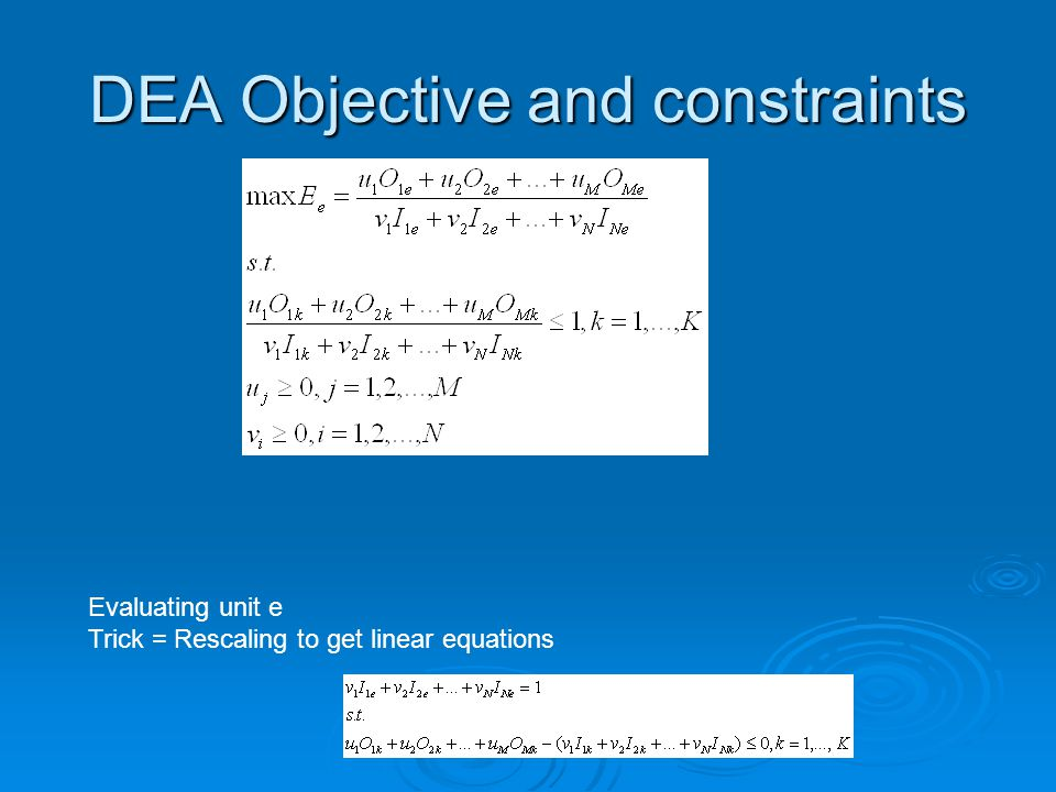 DEA Objective and constraints Evaluating unit e Trick = Rescaling to get linear equations