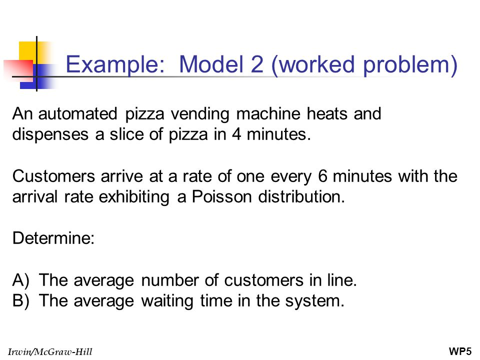 Irwin/McGraw-Hill Example: Model 2 (worked problem) An automated pizza vending machine heats and dispenses a slice of pizza in 4 minutes. Customers ar