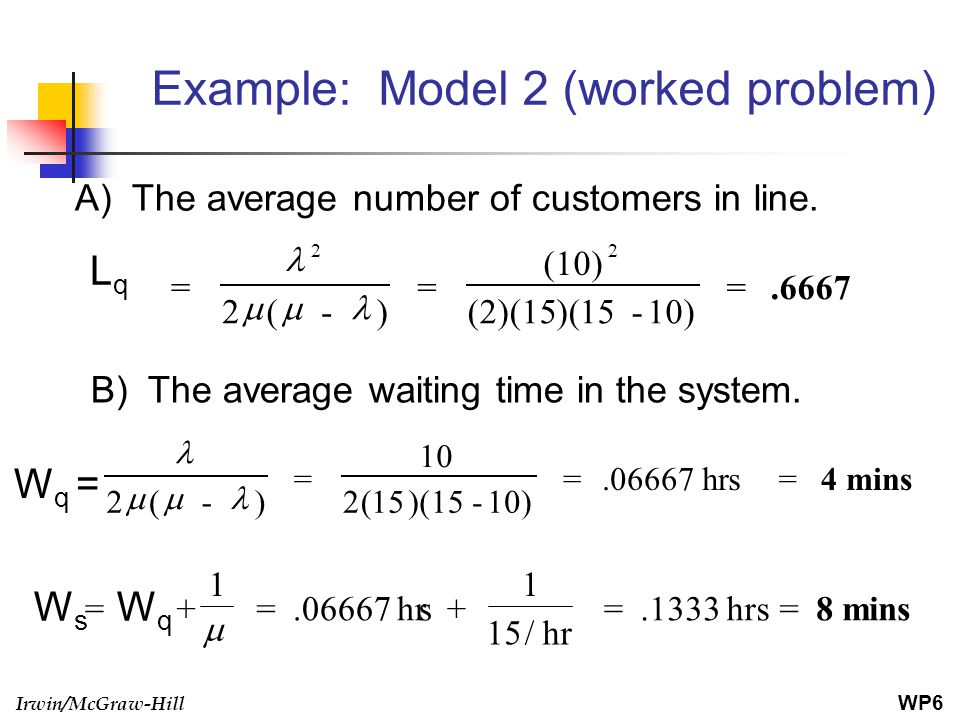 Irwin/McGraw-Hill Example: Model 2 (worked problem) A) The average number of customers in line. B) The average waiting time in the system. = + =.06667