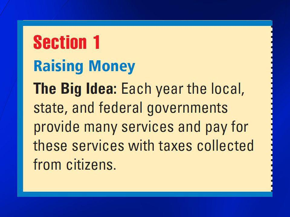 Government Spending federal government spends trillions of dollars every year 2012 federal budget over $3 trillion state and local governments can spend many billions of dollars each year 2012 Ohio budget over $200 billion – 3000 pages long the costs of government are paid with public funds this money comes from the American people each year, the local, state, and federal governments spend huge amounts of money on many needed services local governments provide their citizens with police officers, firefighters, and schools, paved streets, sewers, trash removal, parks, and playgrounds state governments fund highways and state police, provide money for public schools and unemployment benefits federal government funds the country s defense, helps agriculture, business, and labor and serves U.S.