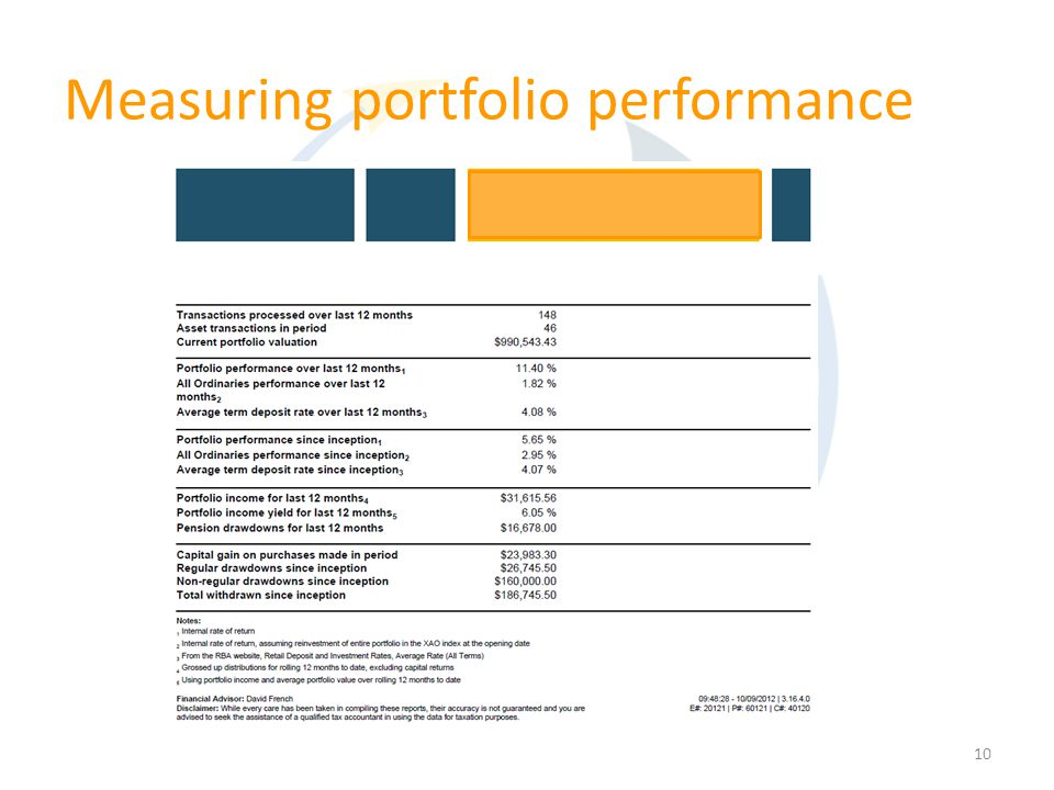 10 Measuring portfolio performance