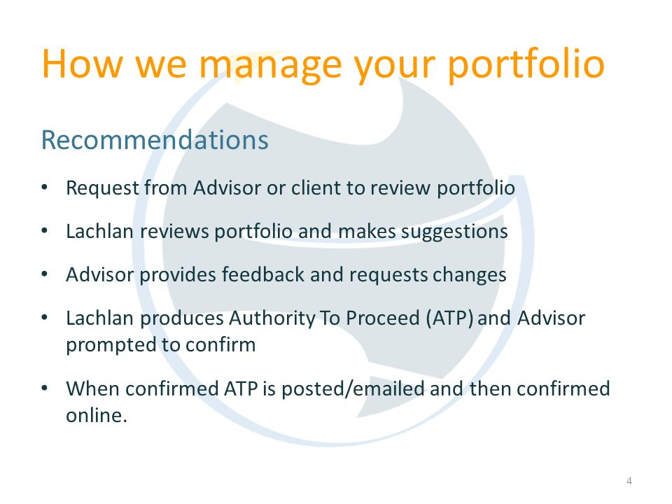 How we manage your portfolio Recommendations Request from Advisor or client to review portfolio Lachlan reviews portfolio and makes suggestions Adviso