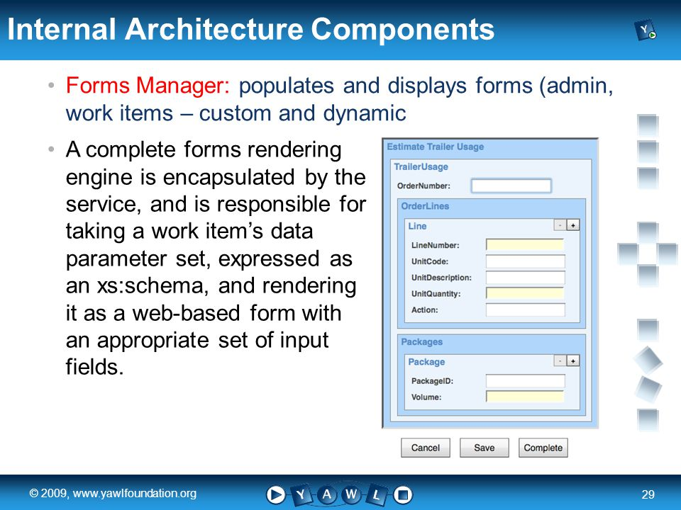 a university for the world real R 29 © 2009, www.yawlfoundation.org Internal Architecture Components Forms Manager: populates and displays forms (admin, work items – custom and dynamic A complete forms rendering engine is encapsulated by the service, and is responsible for taking a work items data parameter set, expressed as an xs:schema, and rendering it as a web-based form with an appropriate set of input fields.