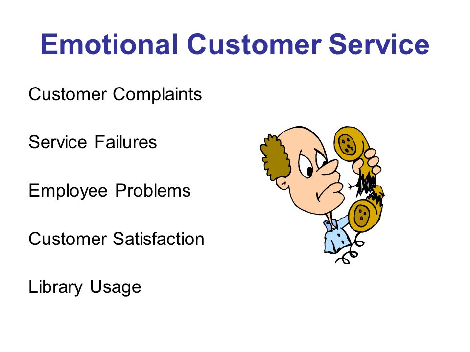 Emotional Customer Service Customer Complaints Service Failures Employee Problems Customer Satisfaction Library Usage