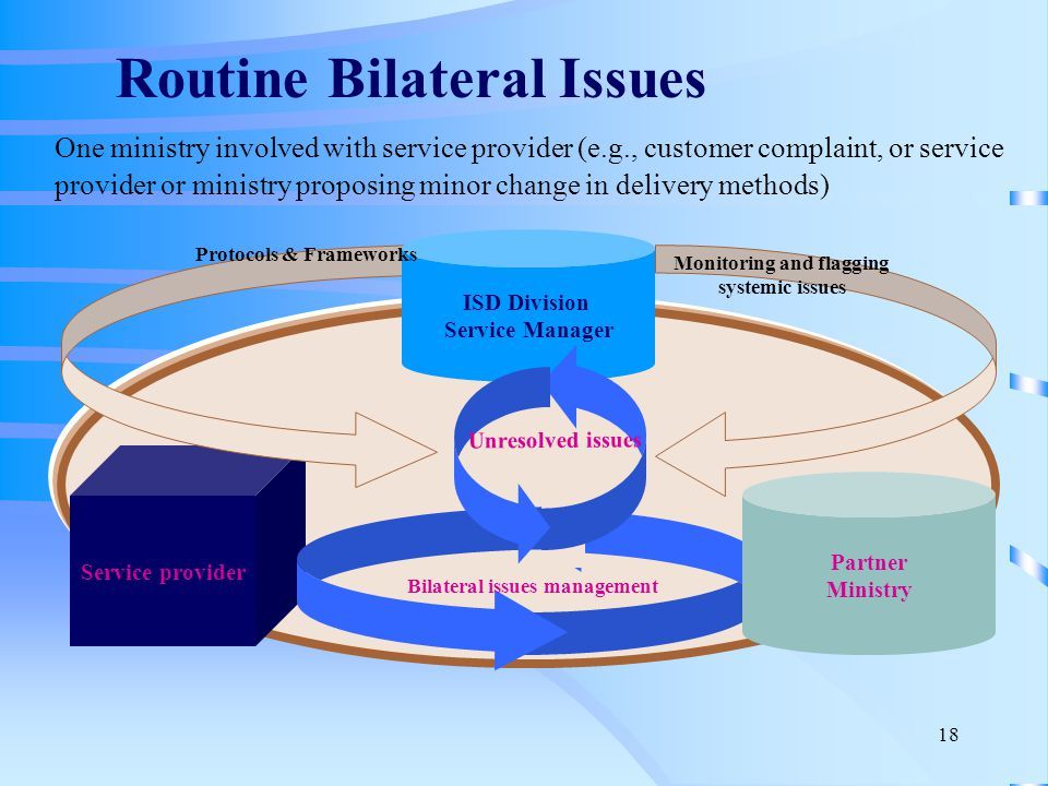 18 One ministry involved with service provider (e.g., customer complaint, or service provider or ministry proposing minor change in delivery methods) Service provider Bilateral issues management Partner Ministry ISD Division Service Manager Monitoring and flagging systemic issues Protocols & Frameworks Unresolved issues Routine Bilateral Issues