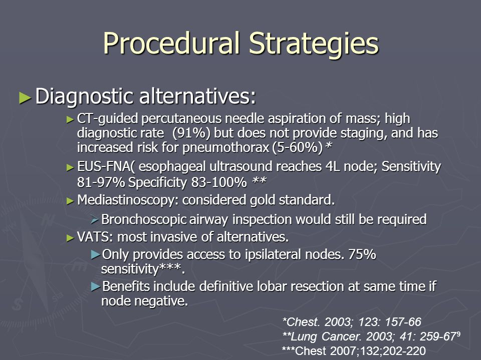 9 Procedural Strategies Diagnostic alternatives: Diagnostic alternatives: CT-guided percutaneous needle aspiration of mass; high diagnostic rate (91%) but does not provide staging, and has increased risk for pneumothorax (5-60%)* CT-guided percutaneous needle aspiration of mass; high diagnostic rate (91%) but does not provide staging, and has increased risk for pneumothorax (5-60%)* EUS-FNA( esophageal ultrasound reaches 4L node; Sensitivity 81-97% Specificity 83-100% ** EUS-FNA( esophageal ultrasound reaches 4L node; Sensitivity 81-97% Specificity 83-100% ** Mediastinoscopy: considered gold standard.