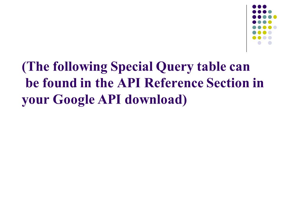(The following Special Query table can be found in the API Reference Section in your Google API download)