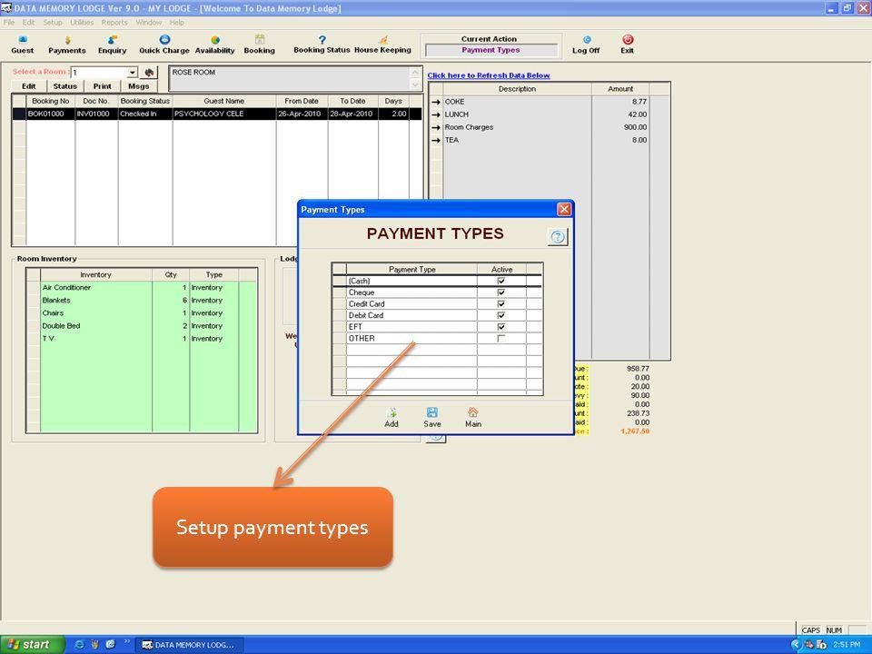 Setup payment types