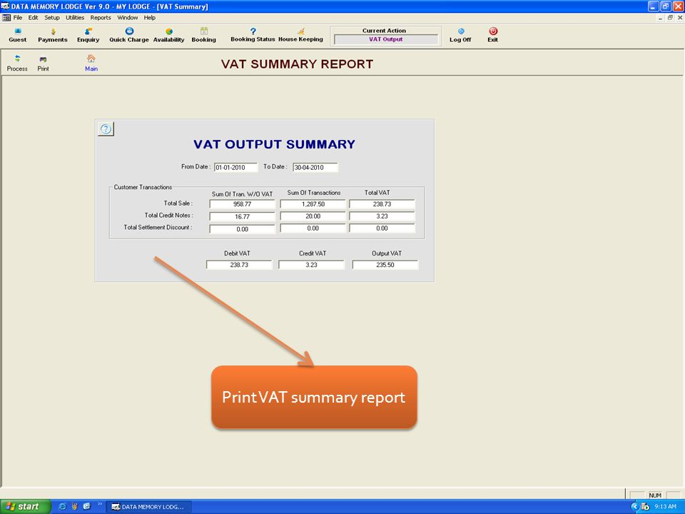Print VAT summary report