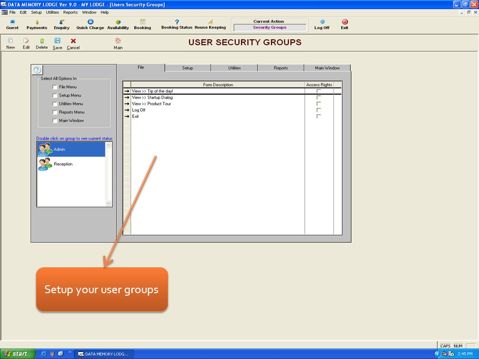 Setup your user groups