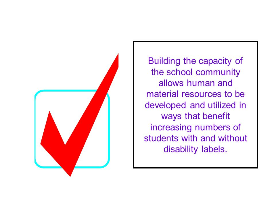 Building the capacity of the school community allows human and material resources to be developed and utilized in ways that benefit increasing numbers of students with and without disability labels.