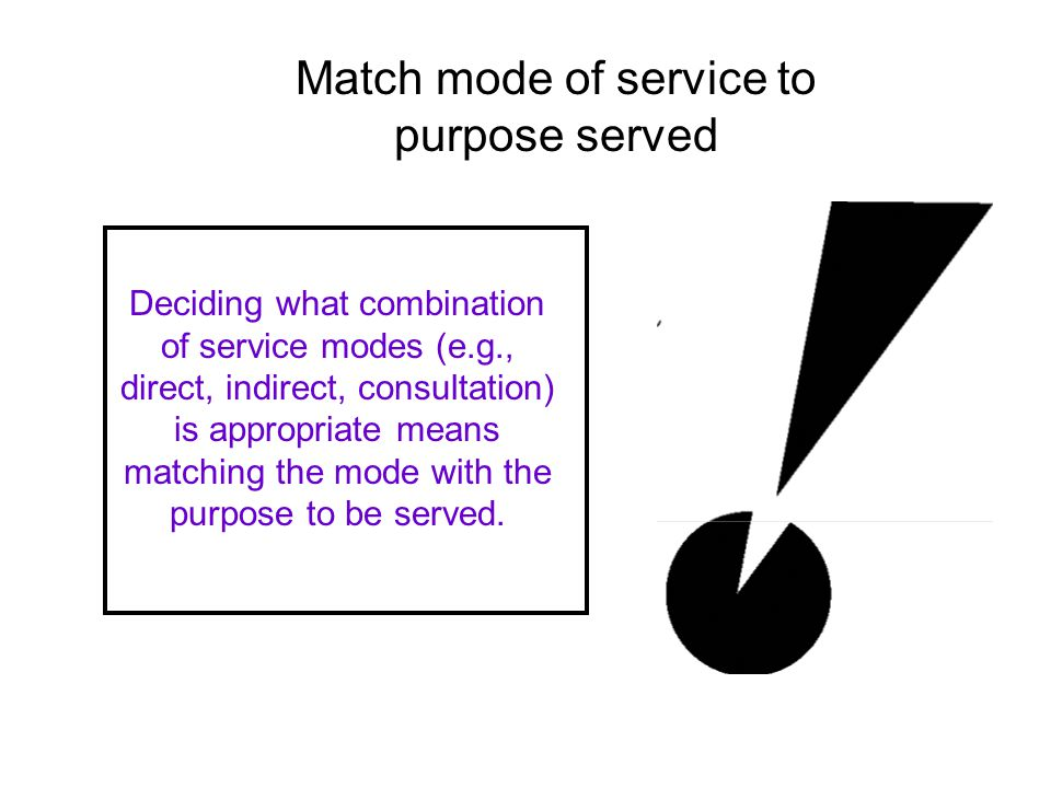 Deciding what combination of service modes (e.g., direct, indirect, consultation) is appropriate means matching the mode with the purpose to be served.
