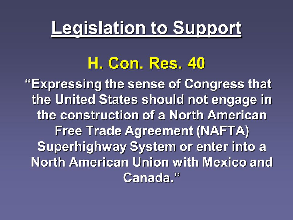 Legislation to Support H. Con. Res.
