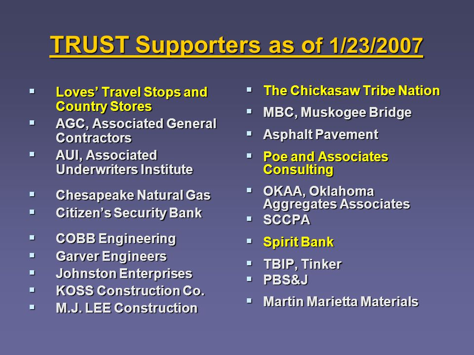 TRUST Supporters as o f 1/23/2007 Loves Travel Stops and Country Stores Loves Travel Stops and Country Stores AGC, Associated General Contractors AGC, Associated General Contractors AUI, Associated Underwriters Institute AUI, Associated Underwriters Institute Chesapeake Natural Gas Chesapeake Natural Gas Citizens Security Bank Citizens Security Bank COBB Engineering COBB Engineering Garver Engineers Garver Engineers Johnston Enterprises Johnston Enterprises KOSS Construction Co.