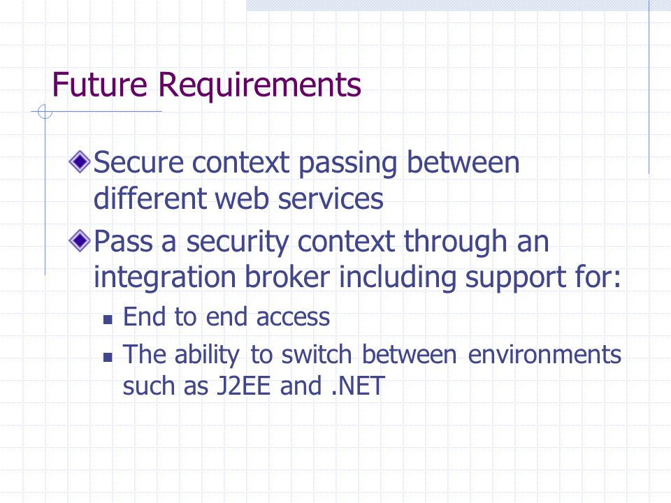 Future Requirements Secure context passing between different web services Pass a security context through an integration broker including support for: End to end access The ability to switch between environments such as J2EE and.NET