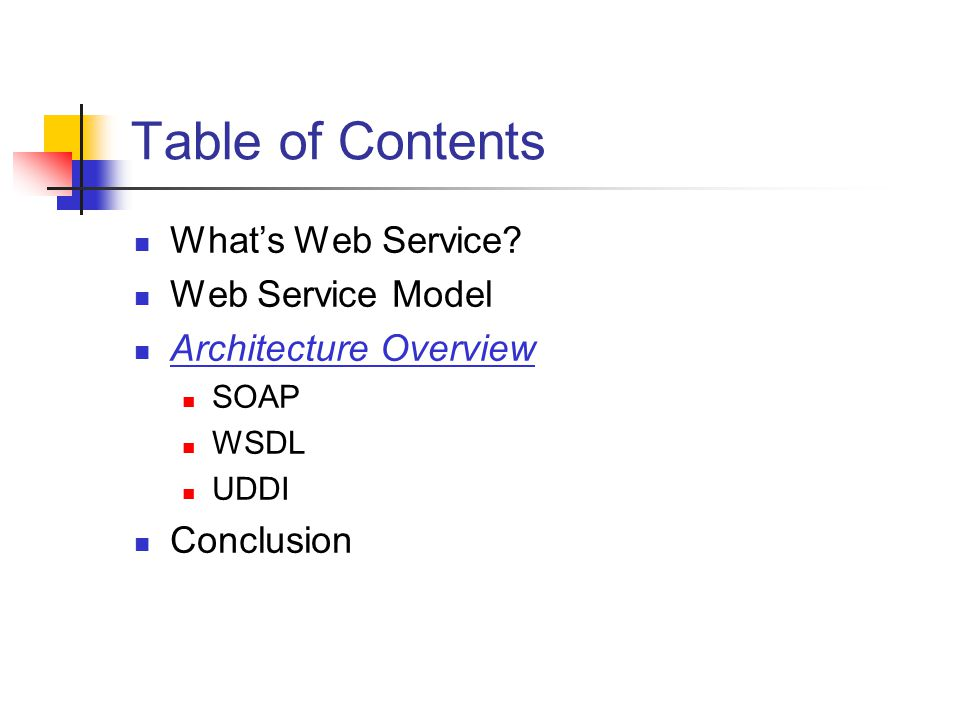 Table of Contents Whats Web Service.