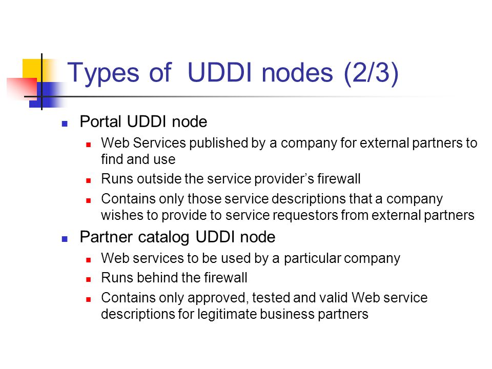 Types of UDDI nodes (2/3) Portal UDDI node Web Services published by a company for external partners to find and use Runs outside the service providers firewall Contains only those service descriptions that a company wishes to provide to service requestors from external partners Partner catalog UDDI node Web services to be used by a particular company Runs behind the firewall Contains only approved, tested and valid Web service descriptions for legitimate business partners