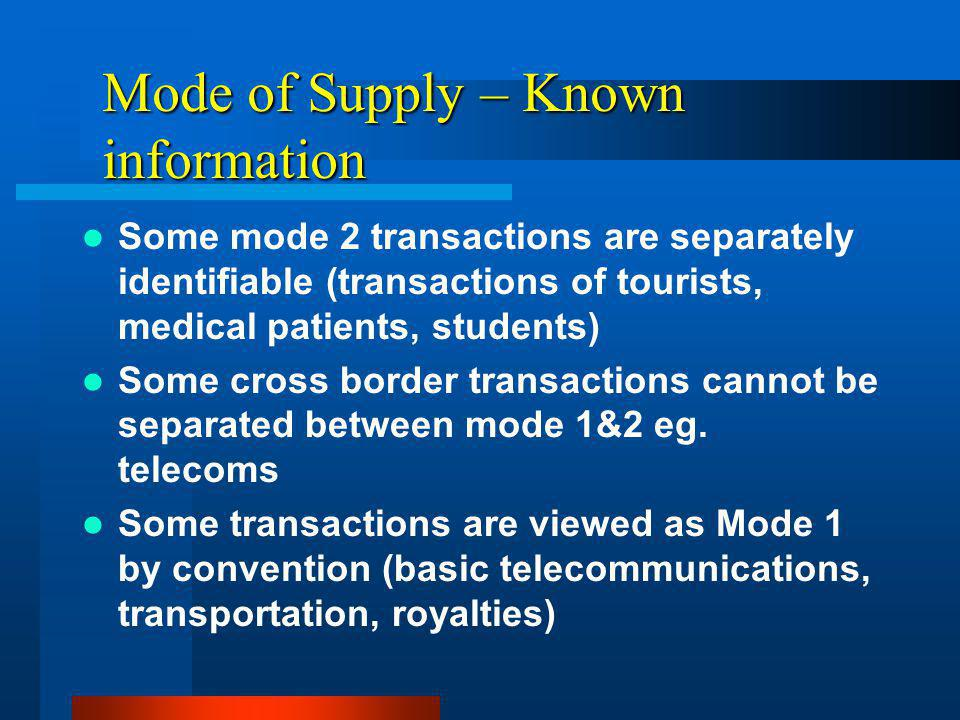 Mode of Supply – Known information Some mode 2 transactions are separately identifiable (transactions of tourists, medical patients, students) Some cross border transactions cannot be separated between mode 1&2 eg.