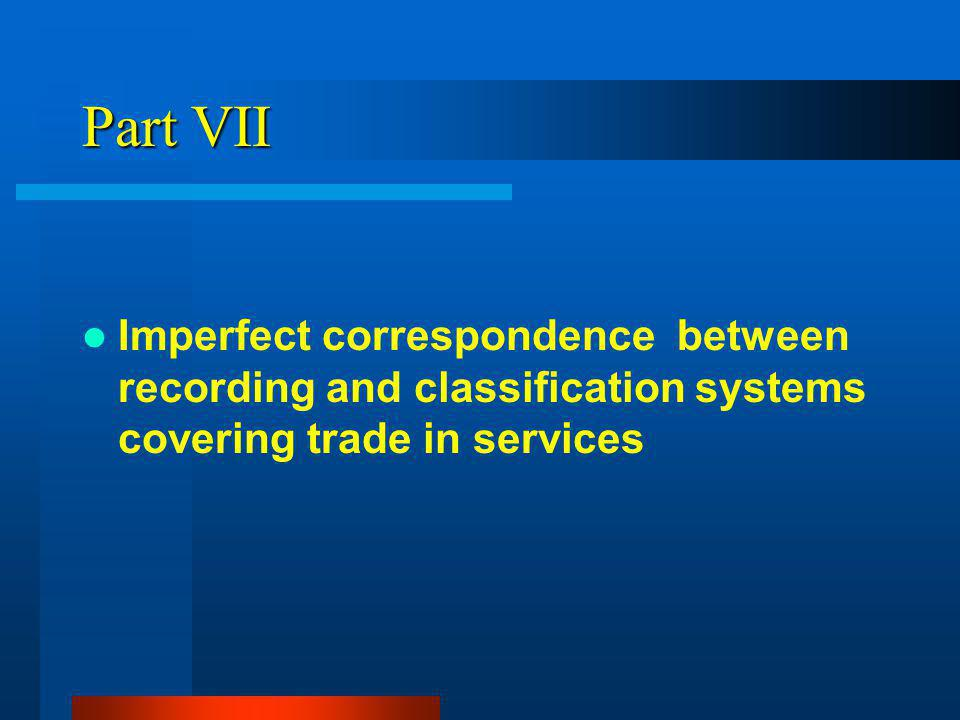 Part VII Imperfect correspondence between recording and classification systems covering trade in services