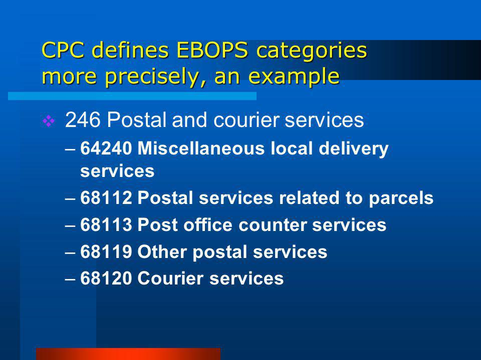 CPC defines EBOPS categories more precisely, an example 246 Postal and courier services –64240 Miscellaneous local delivery services –68112 Postal services related to parcels –68113 Post office counter services –68119 Other postal services –68120 Courier services