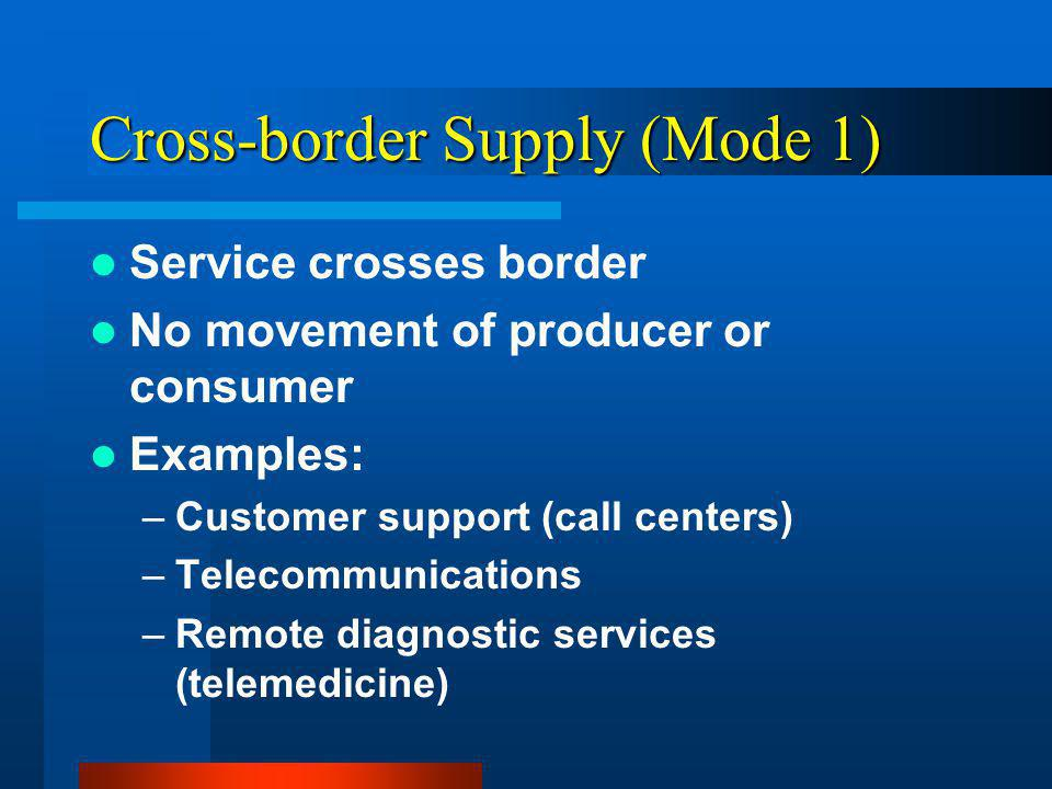 Cross-border Supply (Mode 1) Service crosses border No movement of producer or consumer Examples: –Customer support (call centers) –Telecommunications –Remote diagnostic services (telemedicine)