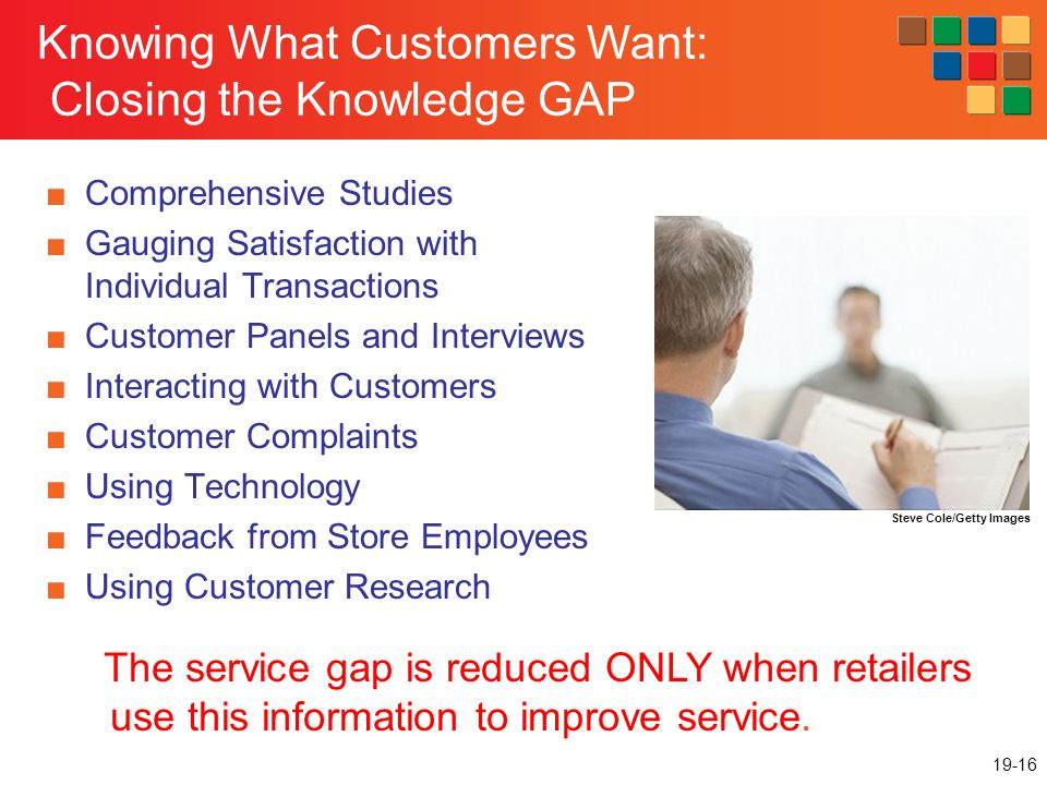 19-16 Knowing What Customers Want: Closing the Knowledge GAP Comprehensive Studies Gauging Satisfaction with Individual Transactions Customer Panels and Interviews Interacting with Customers Customer Complaints Using Technology Feedback from Store Employees Using Customer Research The service gap is reduced ONLY when retailers use this information to improve service.