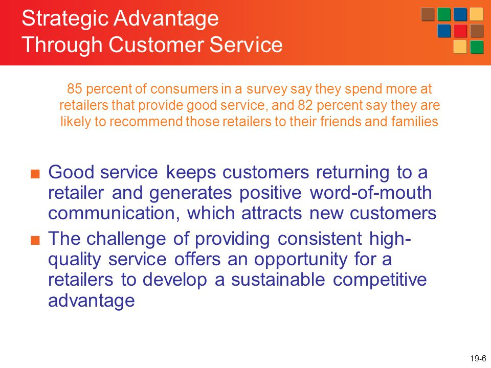 19-17 Setting Service Standards: the Standards GAP High quality service commitment Define the role of service providers Set service goals Measure service performance Give information and training
