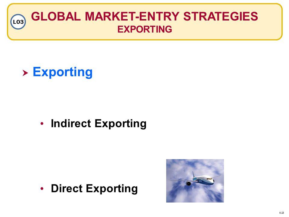 Exporting Indirect Exporting Direct Exporting GLOBAL MARKET-ENTRY STRATEGIES EXPORTING LO3 6-25