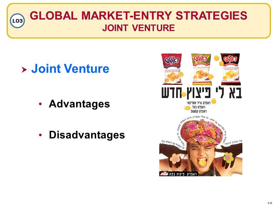 Joint Venture GLOBAL MARKET-ENTRY STRATEGIES JOINT VENTURE LO3 Advantages Disadvantages 6-28