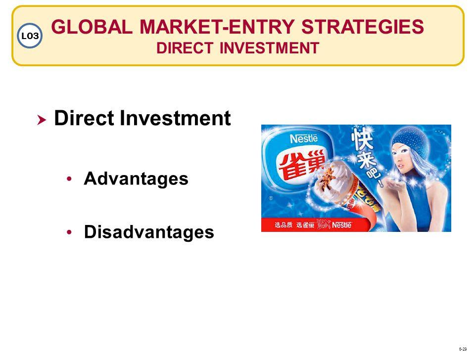 GLOBAL MARKET-ENTRY STRATEGIES DIRECT INVESTMENT LO3 Advantages Disadvantages Direct Investment 6-29