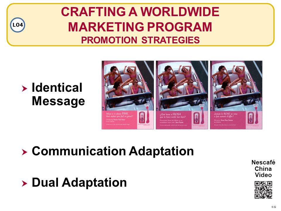 Communication Adaptation CRAFTING A WORLDWIDE MARKETING PROGRAM PROMOTION STRATEGIES LO4 Dual Adaptation Identical Message Nescafé China Video 6-32