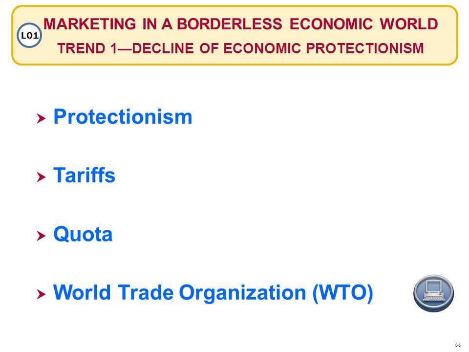 MARKETING IN A BORDERLESS ECONOMIC WORLD TREND 1DECLINE OF ECONOMIC PROTECTIONISM LO1 Protectionism Tariffs Quota World Trade Organization (WTO) 6-5