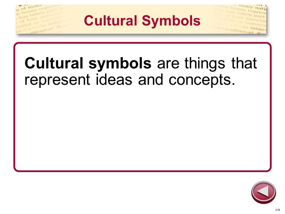 Cultural Symbols Cultural symbols are things that represent ideas and concepts. 6-55