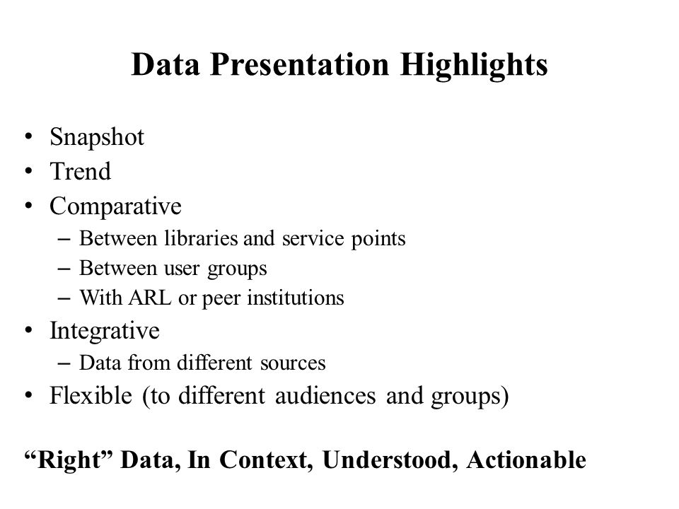 Data Presentation Highlights Snapshot Trend Comparative – Between libraries and service points – Between user groups – With ARL or peer institutions I