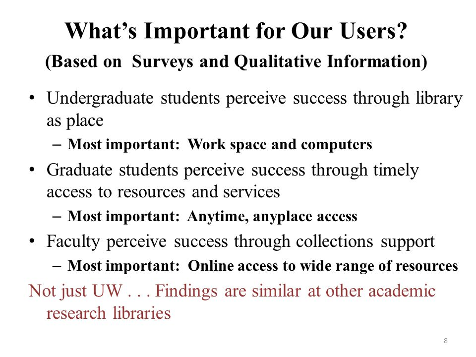 Whats Important for Our Users? (Based on Surveys and Qualitative Information) Undergraduate students perceive success through library as place – Most