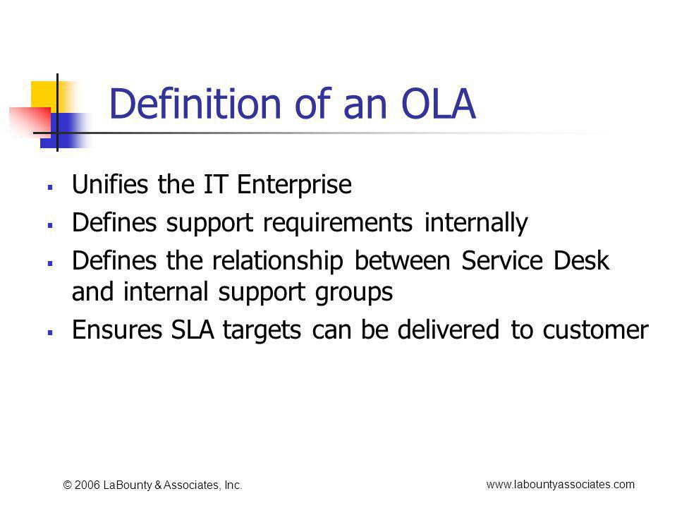 www.labountyassociates.com © 2006 LaBounty & Associates, Inc. Definition of an OLA Unifies the IT Enterprise Defines support requirements internally D