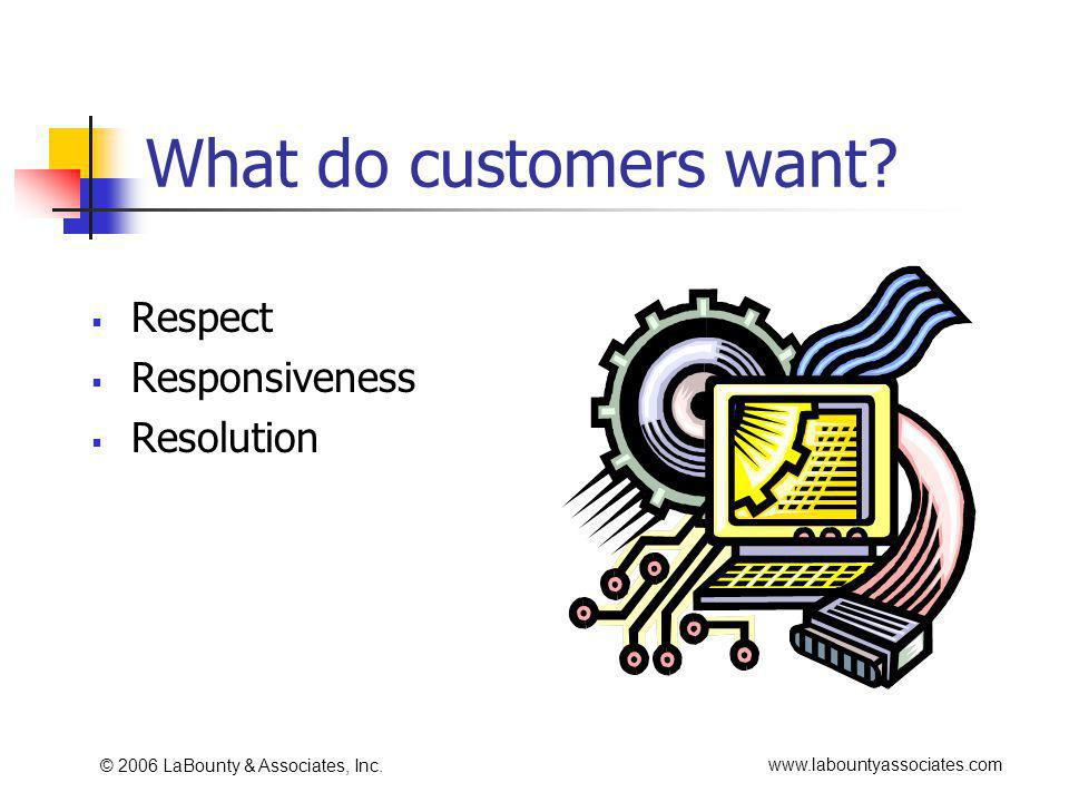 www.labountyassociates.com © 2006 LaBounty & Associates, Inc. What do customers want? Respect Responsiveness Resolution