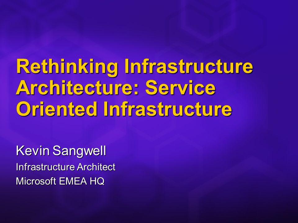 Rethinking Infrastructure Architecture: Service Oriented Infrastructure Kevin Sangwell Infrastructure Architect Microsoft EMEA HQ