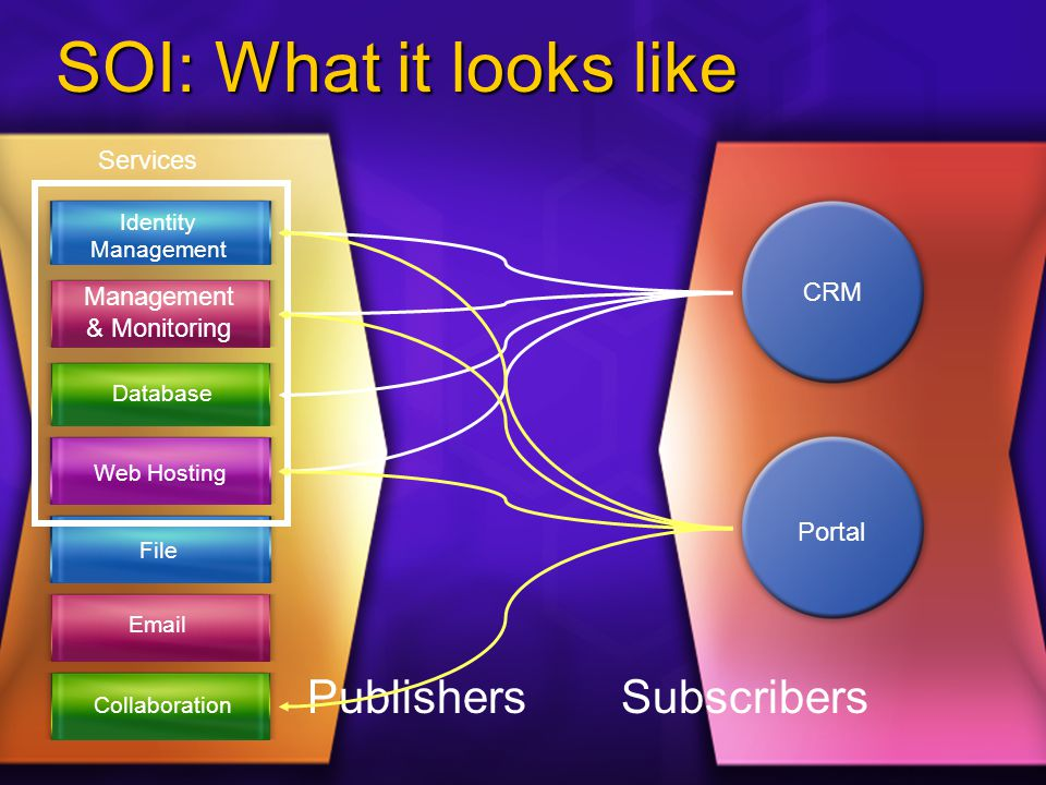 SOI: What it looks like Identity Management & Monitoring Database File  Collaboration Web Hosting Services Subscribers CRM Publishers Portal
